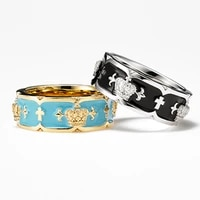 japanese special interest fashion brand 18k gold jd crown ring men and women couple sterling silver cross hip hop retro couple r
