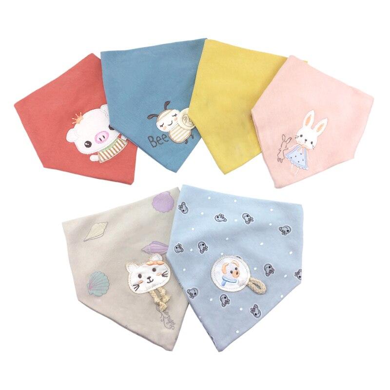 Baberos de algodón para bebé bordado delantal de alimentación para bebé triángulo babero niña niño alimentación bufanda Baberos eructan paño Bandana y toalla para saliva