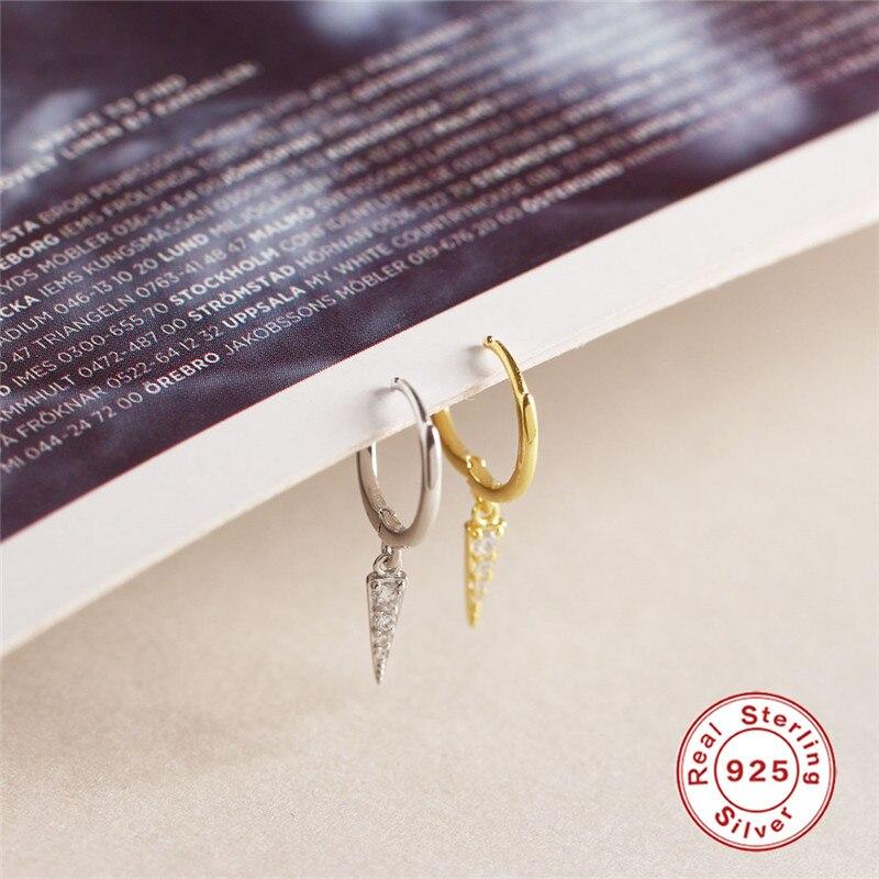 ROXI trójkąt Hoop kolczyki dla kobiet złota chrząstka okrągłe koło kolczyki Huggie koreańska biżuteria 925 srebro kolczyki