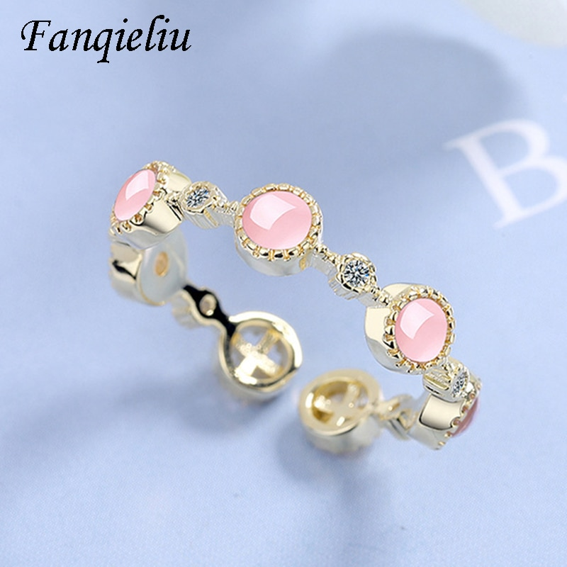 Fanqieliu Pink Opal Gold Color Wedding Bands Adjustable 925 Sterling Silver Ring For Women FQL21009