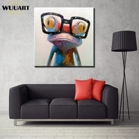 hand painted cartoon oil painting on canvas happy frog oil painting abstract animal paintings wall art for kids room decoration