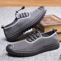 mesh surface shoes mens mesh sports casual shoes hollow mens shoes 2021 new summer hole sandals middle aged and elderly