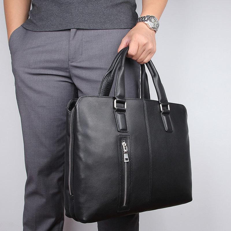 A4 Black Coffee Genuine Leather 14'' Laptop Office Men Briefcase Business Messenger Bags Portfolio M7411