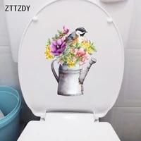 ZTTZDY 18 2    24 8CM Peint A La Main Arrosoir Bouquet Toilette Autocollants Mode Maison Decoration Murale T2-1479