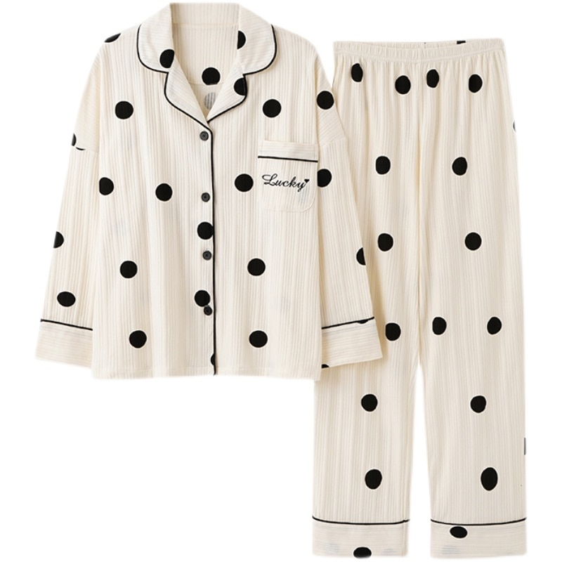 Pajamas Women's Spring And Autumn Pure Cotton Long Sleeve Two-piece Set Spring And Summer Pure Cotto