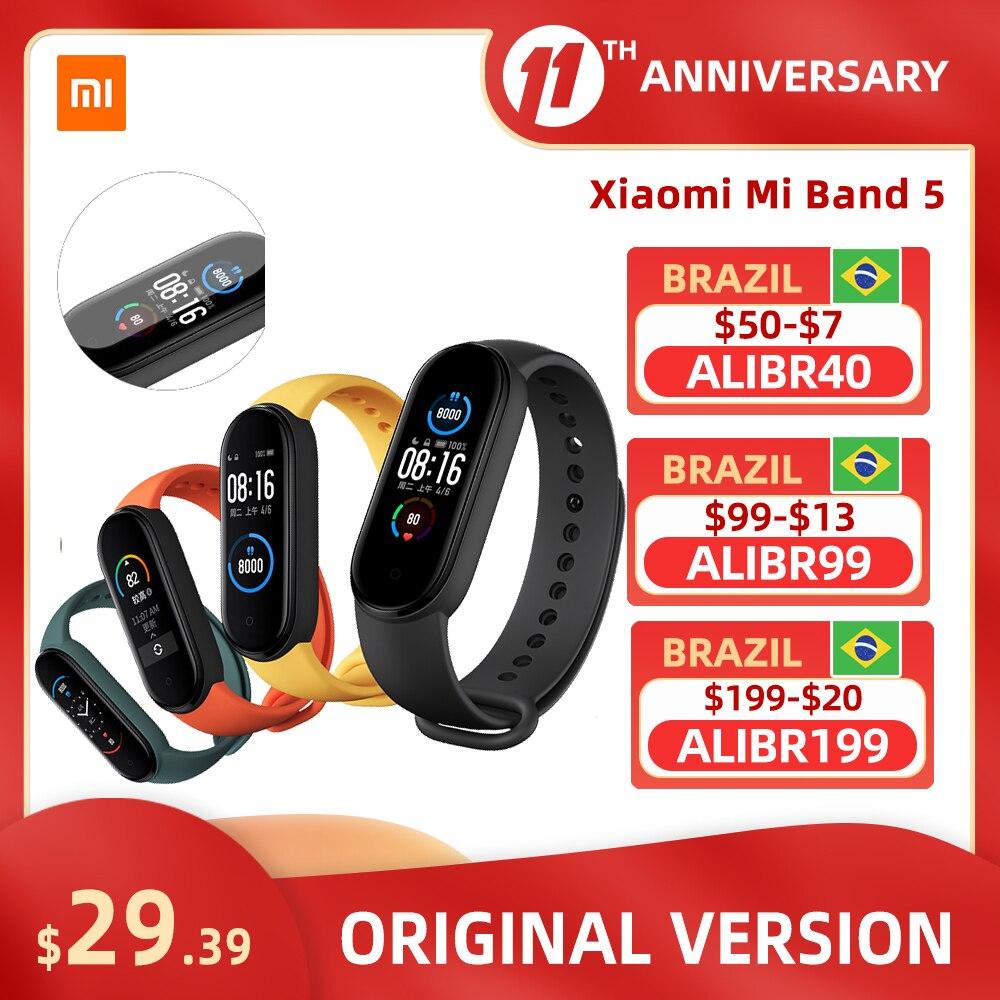 Xiaomi Mi Band 5 NFC Bluetooth 5.0 Waterproof Miband5 Smart Bracelet 4 AMOLED Screen Heart Rate Fitness Tracker Mi Band