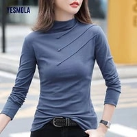 yesmola half high collar bottom shirt twill button simple solid color slim long sleeve t shirt for women long sleeve fit tops