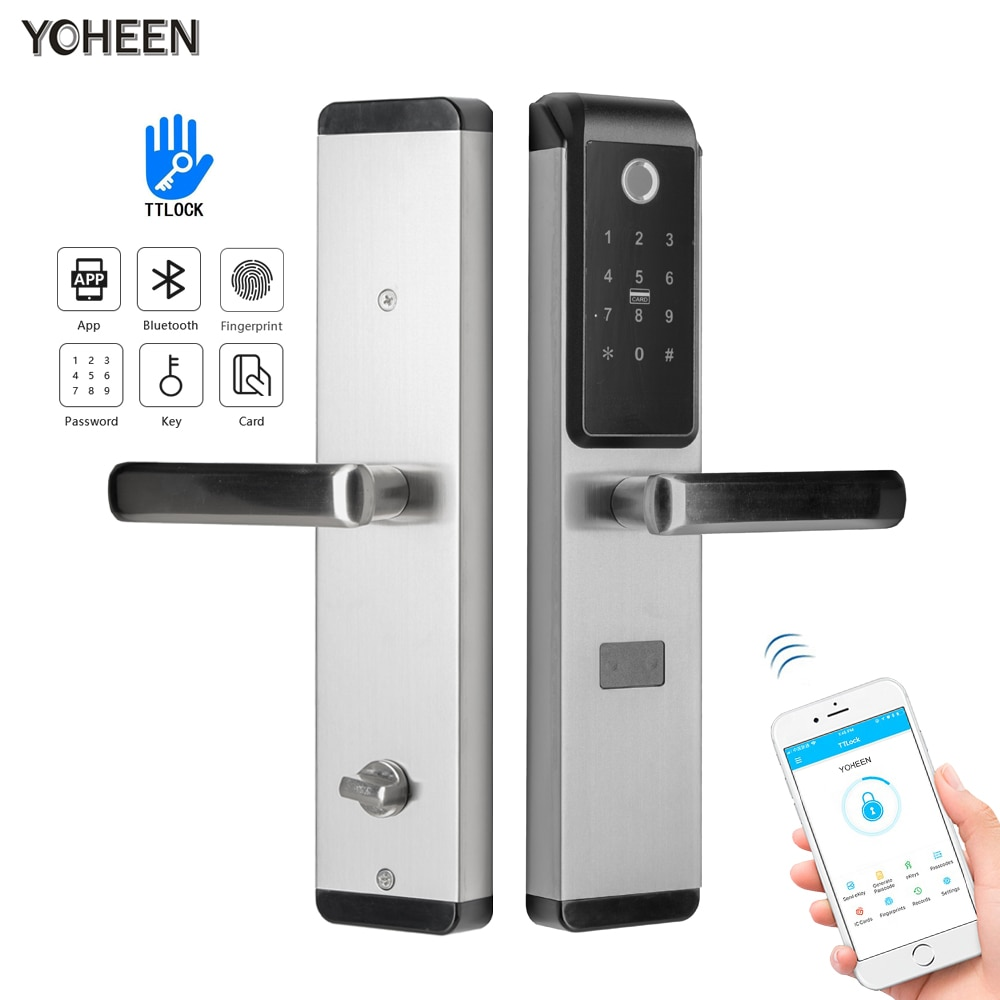 Review Security Smart Biometric Fingerprint Digital Code RFID Card Electronic Door Lock With Bluetooth App WiFi for Home