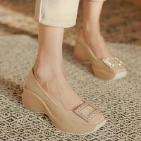 2021 autumn new wedge heel shoes womens high heeled rhinestone square buckle leather wild square toe platform platform shoes