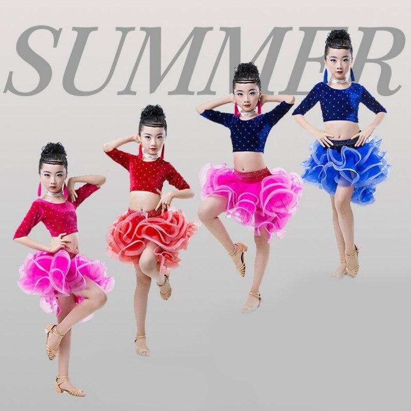 Children's short-sleeved Latin dance practice performance clothing new style girls Latin dance skirt Latin competition clothing corpus scriptorum historiae byzantinae volume 44 latin edition