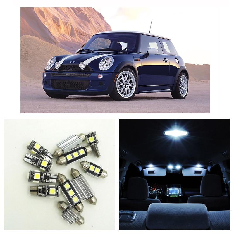 12 Uds bombilla de coche para BMW Mini John Cooper funciona 2010 2011 2012 2013 Luz de cúpula 2014 Luz de licencia maletero lámpara guantera luces azul