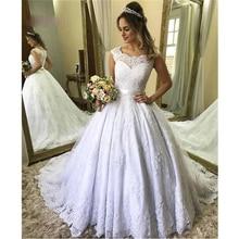 Cap Sleeves Wedding Dress Appliques Lace Ball Dress Long Dresses For Marriage Bridal Gown Formal Prom Vestido de Noiva 2020
