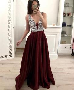 2020 Evening Dress Long Red Wine Satin Sexy V neck Special Occasion Gown Shining Dubai Saudi Arabic Plus Size Women Party Dress
