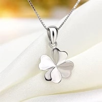 new fashion simple silver color four leaf necklace for women gift fashion jewelry