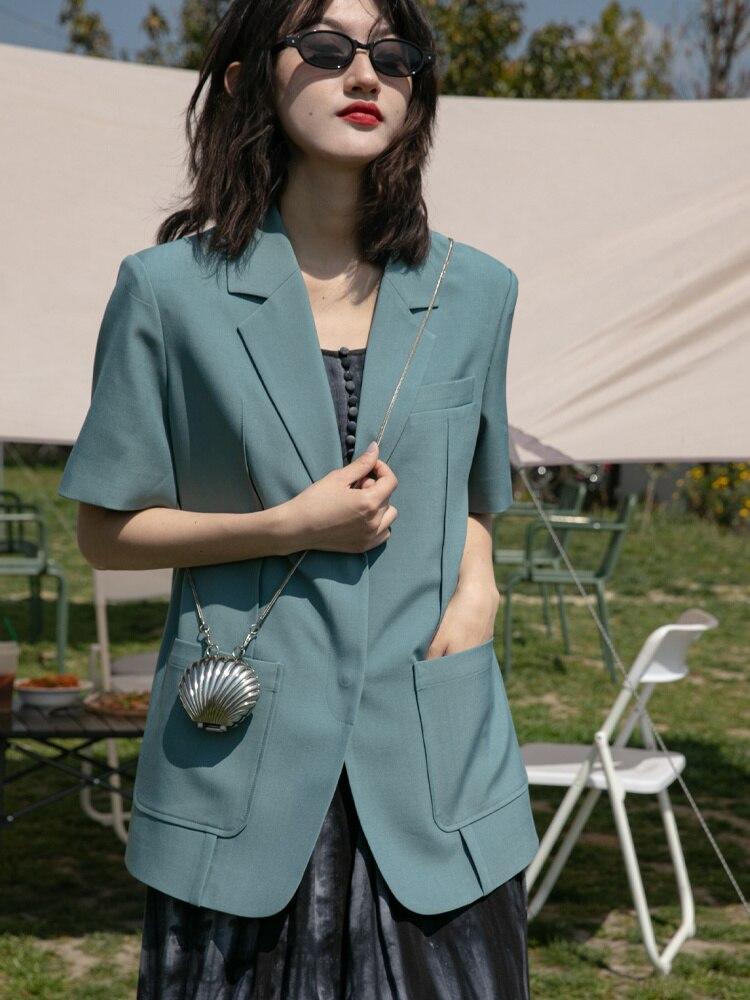 قصيرة الأكمام دعوى معطف المرأة الصيف جديد الكورية فضفاضة و رقيقة الترفيه المقلية الشارع دعوى أعلى