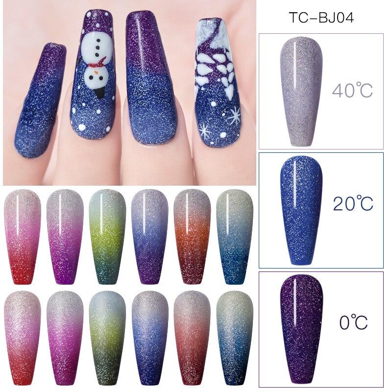 T-TIAO CLUB Arco Iris térmica de uñas de Gel polaco híbrido temperatura de Color cambiante brillo holográfico remojo UV laca de Gel para uñas