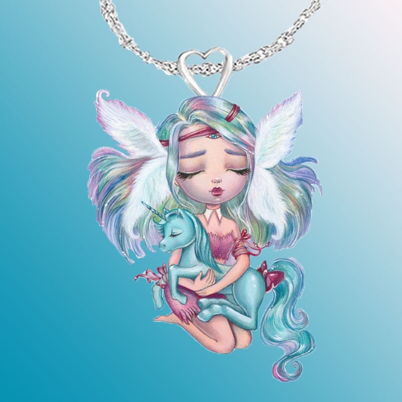 New 3D printing angel girl necklace cartoon pendant creative wholesale