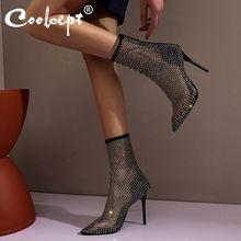 Mujeres kemekiss Sandalias Zapatos de moda cristales verano puntiagudos sexys tacones finos zapatos de color sólido mujeres tamaño 35-46