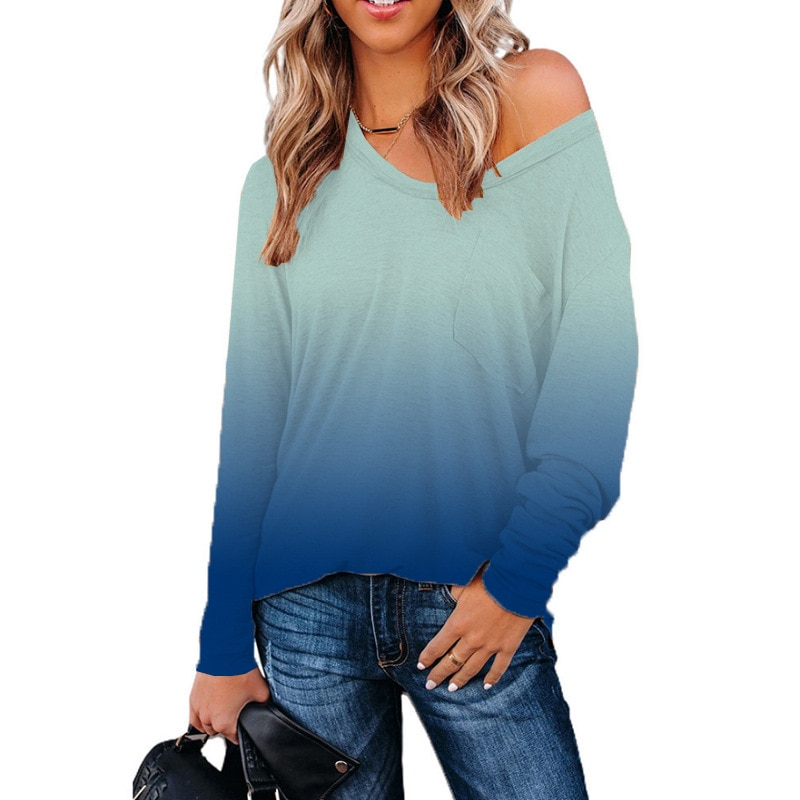 Loose T-shirts Women Gradient Long Sleeve Sexy V-neck Tops Woman Pullovers Female Fashion Hotsale Pocket Casual Cloth Undershit