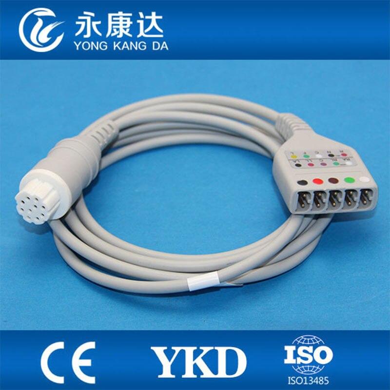 2 قطعة/الوحدة شحن مجاني ل Datex 10pin ECG رسم القلب كابل الجذع ل 5-يؤدي ECG Leadwires رسم