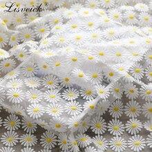 Robe cheongsam en dentelle blanche   Tissu en maille, brodé marguerite, tissu doux, pour robe de mariée, vêtements à la main, 50x150cm