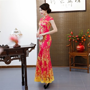 Evening Dress large size Qipao Vintage Chinese Style Wedding Dress Retro Long Gown Marriage Cheongsam Party Clothe Qipao dress