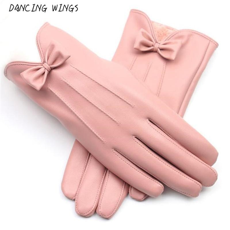Neue ankünfte weibliche handschuhe Winter Warme mode bowknot rosa PU Leder Handschuhe Frauen