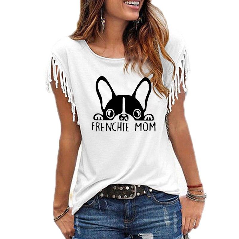 Frenchie Mom женская футболка с принтом в виде французского бульдога, женская одежда 2019, летняя повседневная футболка, женские топы