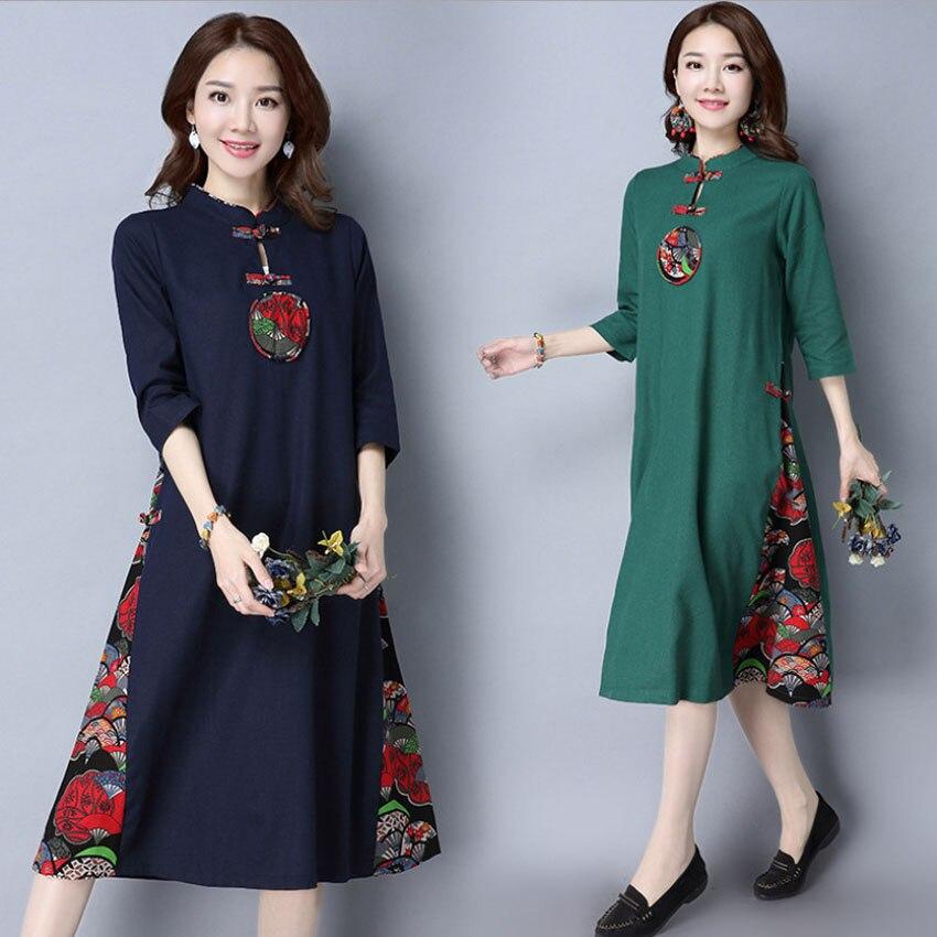 2020 verão roupas tradicionais chinesas cheongsam vestido para as mulheres retalhos ethic maxi oriental casual vestido de linho tai chi conjunto
