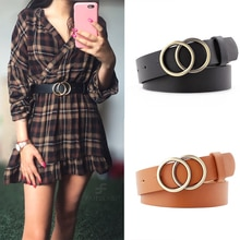 Fashion Leather Waist Belt For Jeans Double Ring Pearl Buckle Ladies Belt For Dresses Black White Wo