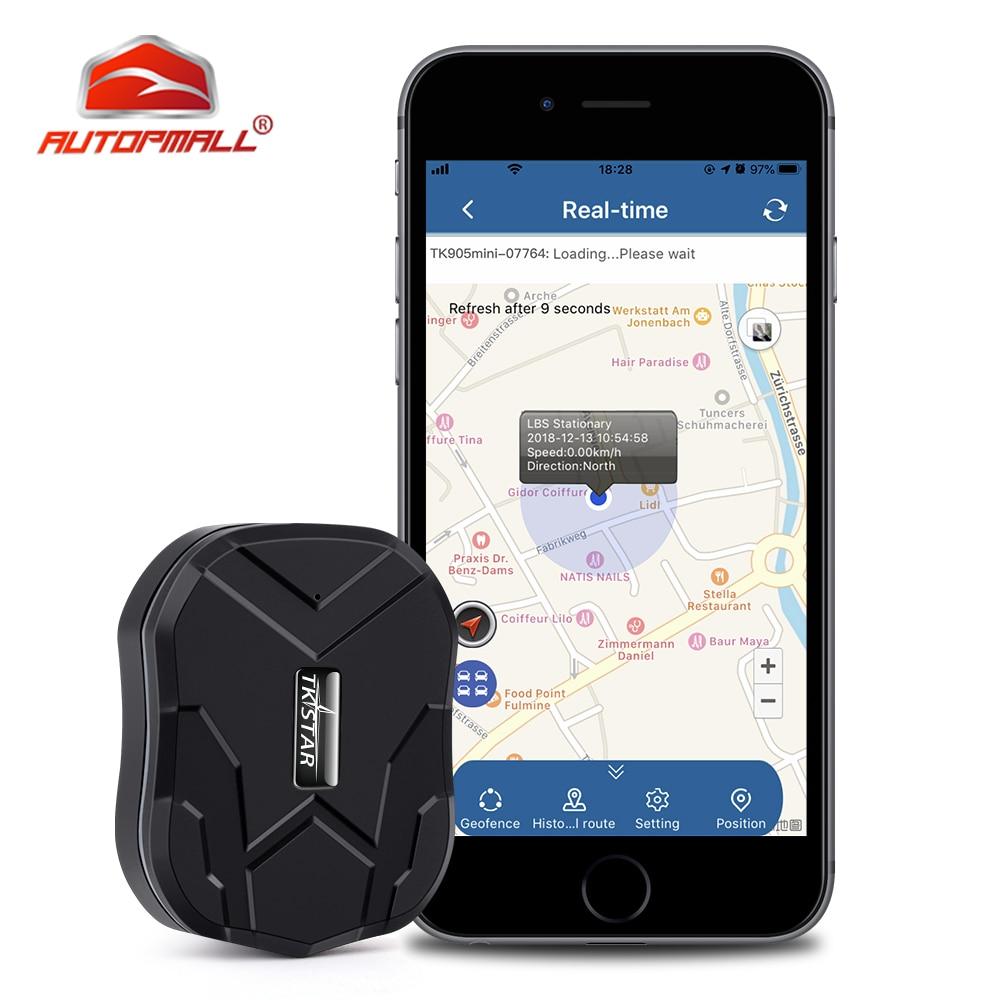 Car GPS Tracker GPS Locator TKSTAR MINI TK905 Waterproof SOS Vehicle Tracker 1500mah Geo-fence Voice Monitor Free APP