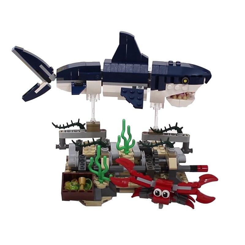 Building Blocks Compatible MOC-22369 Deep Sea Creatures Swimming Shark Stand Technic Bricks Diy Toy Christmas Gift