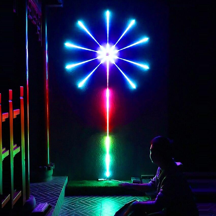الألعاب النارية LED قطاع ضوء RGB فسطون الجنية ضوء تحكم بالموسيقى النيزك مصباح المنزل السنة الجديدة عيد الميلاد غرفة إضاءة زينة جارلاند