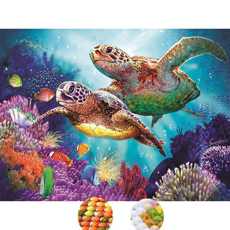 DIY mosaico de diamantes Animal tortuga de mar bordado completo diamante pintura punto de cruz diamante cristal arte de la pared