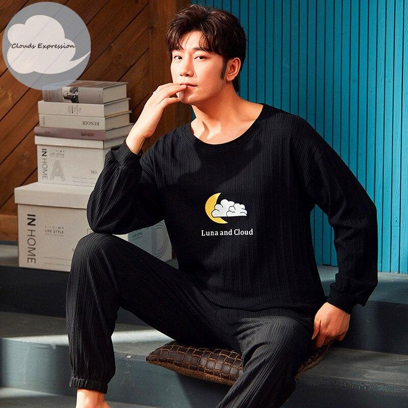 Spring Autumn Men's Cotton Pajamas Letter Striped Sleepwear Cartoon Pajama Sets Casual Sleep&Lounge