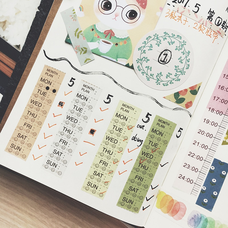 7m*15mm Ruler/Month Plan/timeline/Weekly Plan List Decoration Washi Tape DIY Diary Scrapbooking Masking Tape With Release Paper
