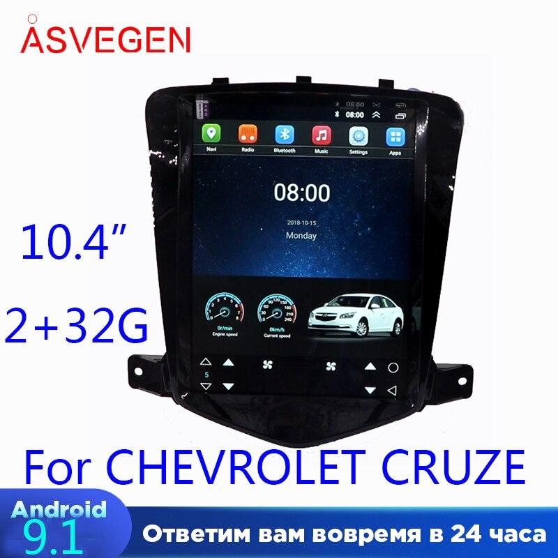 Asvegen 10.4 Vertical Tesla Style Android 9.1 voiture DVD Radio pour chevrolet CRUZE 2009-2013 Auto Navi stéréo Headunit multimédia