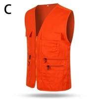 man working multi pocket vest volunteer vest small reporter advertising waistcoat solid color overalls