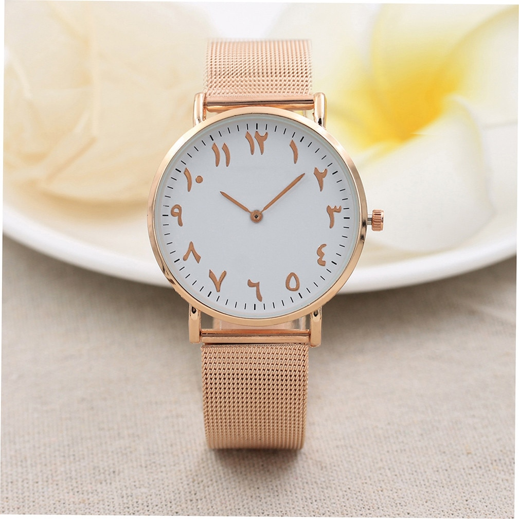 Men Women Watches Classic Ancient Arabic Numerals Stainless Steel Mesh Golden Silver Watch Couple Wa