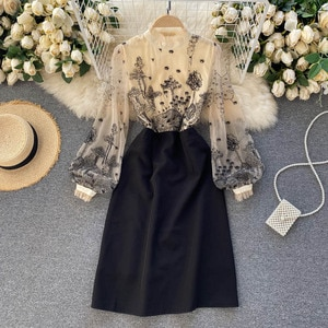 patterns perspective gauze collar hubble-bubble sleeve show thin waist stitching aristocratic temperament dress