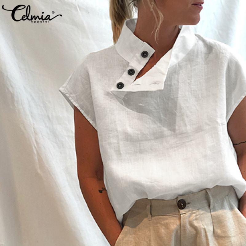 Celmia Top Mode Frauen Kurzarm Sommer Shirts Buttons Solide Baumwolle Leinen Blusen Tunika Casual Lose Blusas Femme Plus Größe