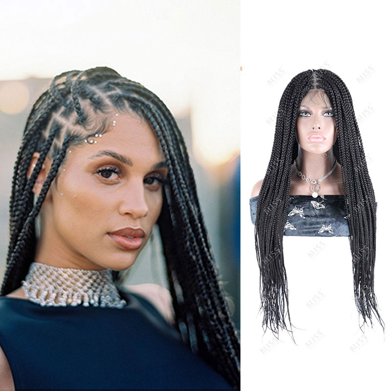 Synthetic Lace Wigs African Braided Hair For Black Women 30inches Braiding hair Wig braid african with Baby Hair 2021 New