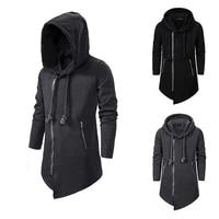 mens assassins creed hoodie dark long irregular loose jacket mens sweater