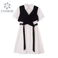 Crop Dress+Cross Bandage Vest Outfits Women Elegant Korean Preppy Style Loose Dresses Or Vestidos Mujer Streetwear Casual Frocks