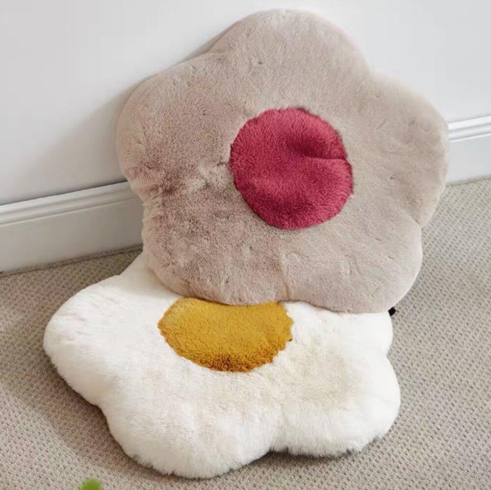 حصيرة تاتامي وسادة أزهار أزهار تقليد الأرنب الفراء خريف شتاء أفخم الدافئة رغوة الذاكرة كرسي مكتب وسادة