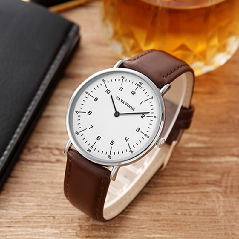 VA VA VOOM Luxury Business Watches Men Watch Fashion Leather Wristwatch Dress Watch Men's Clock Life Waterpoof montre homme