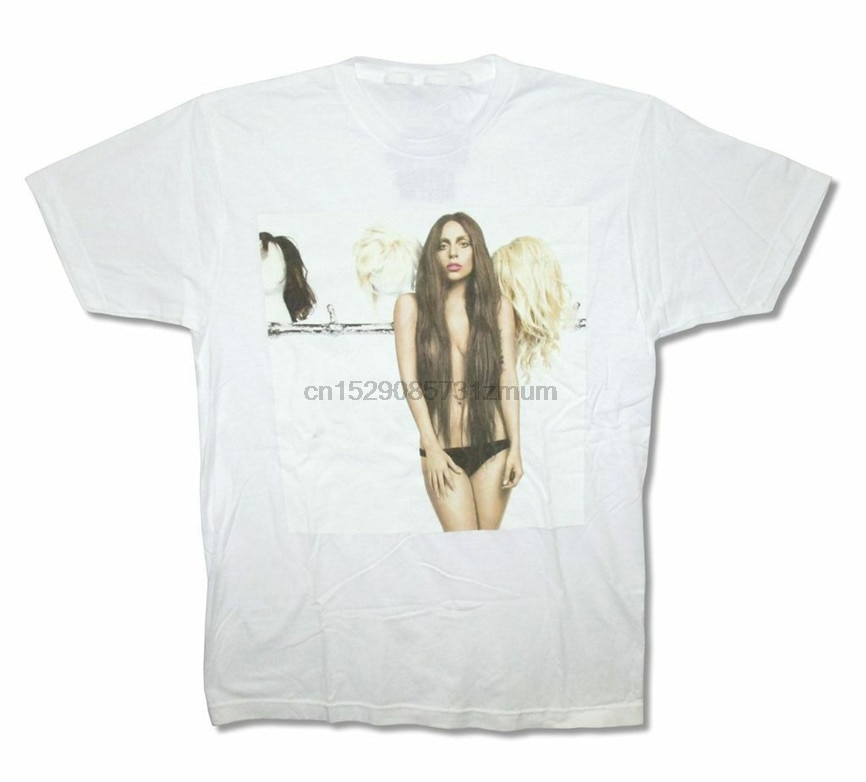Lady gaga perucas pic imagem artpop adulto branco t camisa nova presente de aniversário camiseta