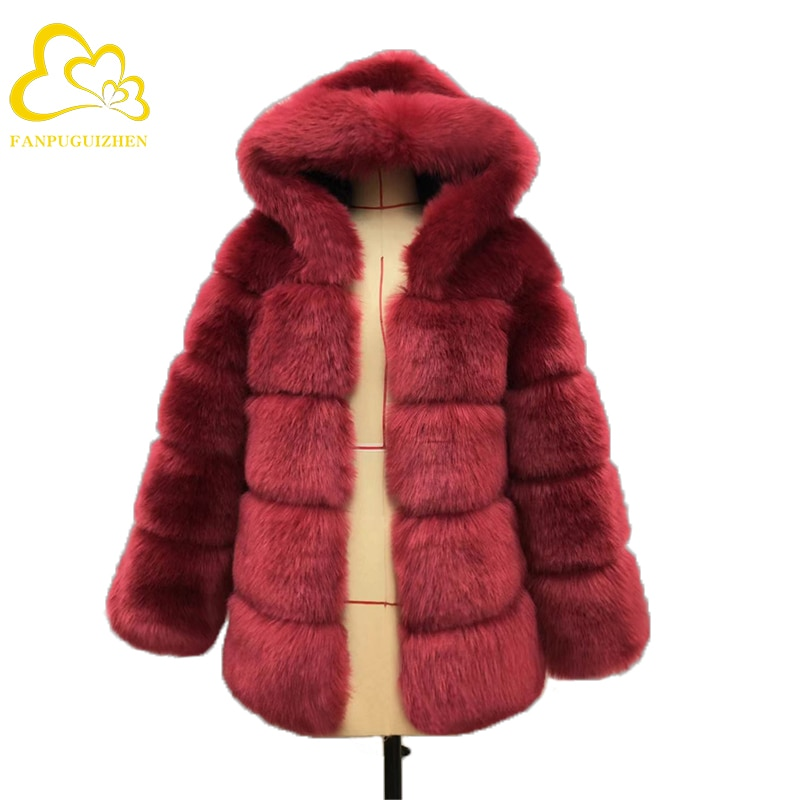 Winter Faux Fur Coat New Fashion Overcoat Woman Hooded Thicken Pure Color  Fox Fur Loose Imitation Fur Jackets Plus Size S-3XL