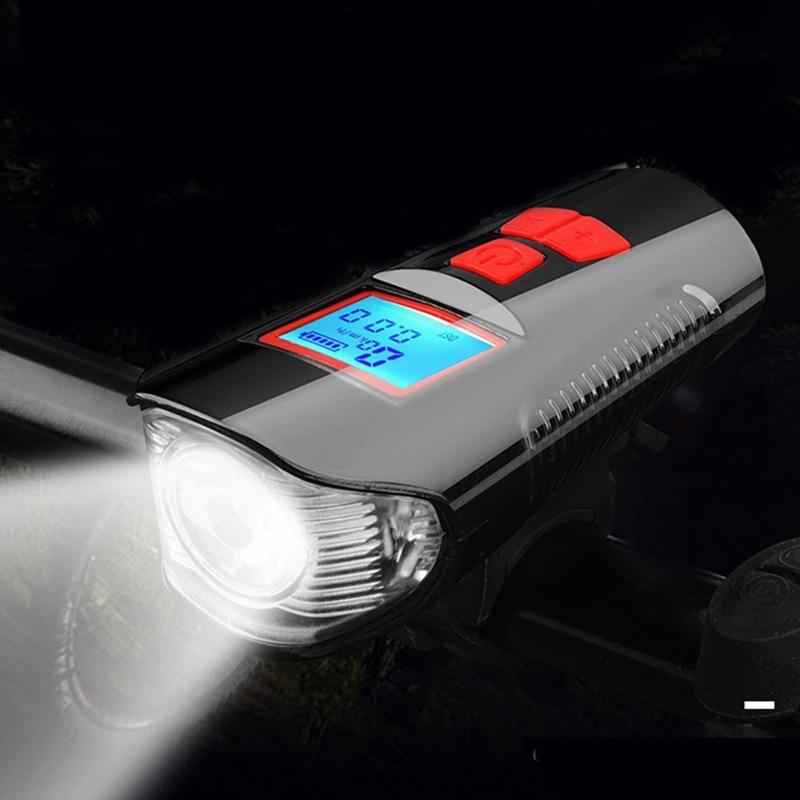 Bike Light Front USB Horn Speed Meter Charging Bike Bicycle Light Flashlight Handlebar Cycling Head LED Lights Bike Accessories