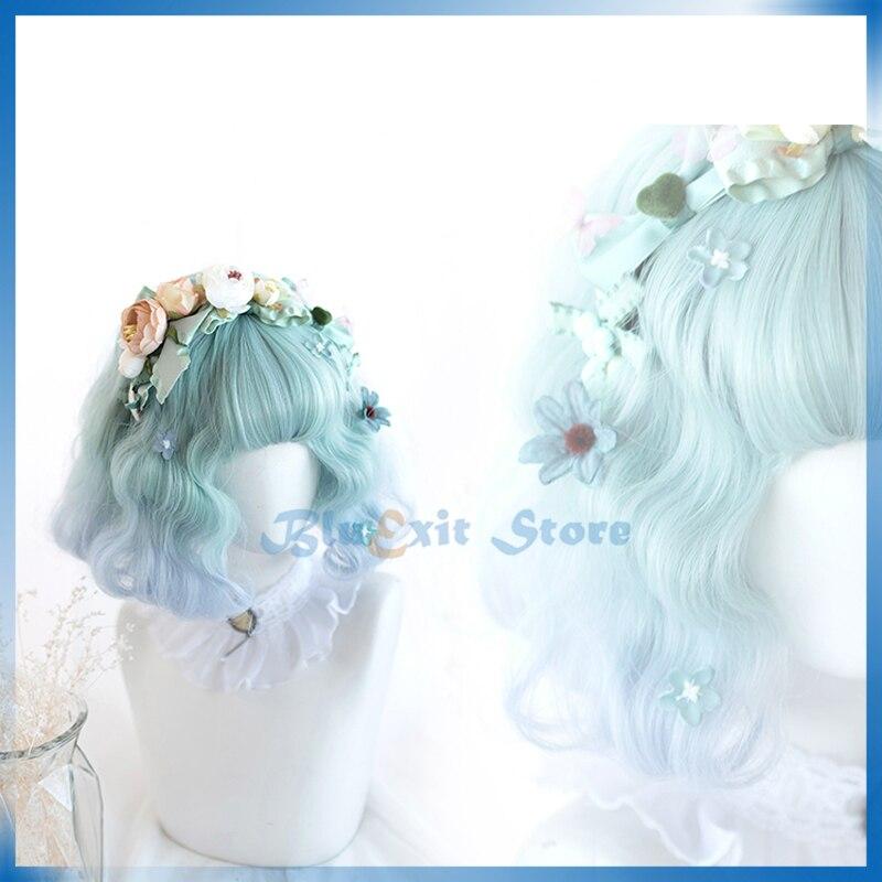 Peluca Lolita Harajuku Cosplay dulce Linda Gradual verde azul Pelo Corto rizado sintético para niñas adultas